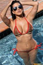 Sunny Leone In Sheer Gold Bikini 00