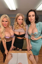 MILF Professors Casca Akashova, Crystal Rush, and Katie Morgan motivate a struggling student with their big huge tits and wet pu 01