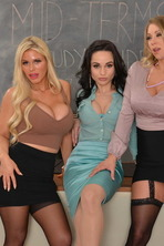 MILF Professors Casca Akashova, Crystal Rush, and Katie Morgan motivate a struggling student with their big huge tits and wet pu 02